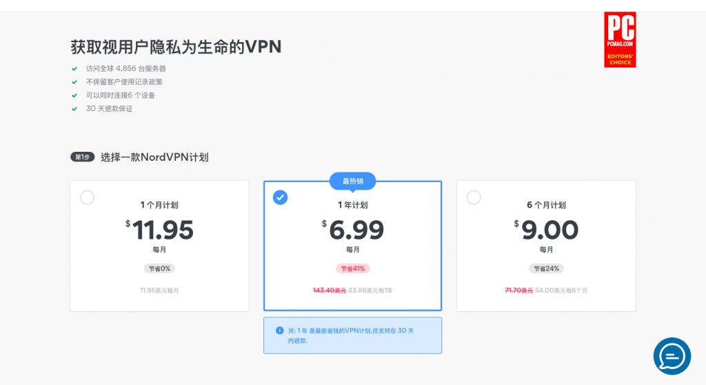 NordVPN 每月價格